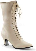 EU 39 = US 9   VICTORIAN-120   2 3/4 Heel Front Lace Up Mid Calf Boot w/Inner Side Zip