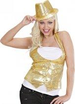 Gouden gilet met pailletten voor dames Xl