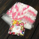 100x Transparante Uitdeelzakjes - Cellofaan Plastic Traktatie Kado Zakjes - Snoepzakjes Hartjes