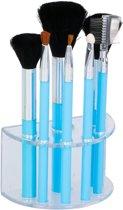 7 Blauwe make-up kwastjes in houder - Make-up kwastjesset blauw