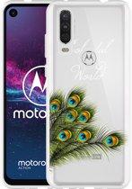 Motorola One Action Hoesje Peacock World