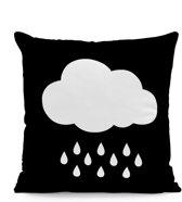 Kussenhoes Raincloud Zwart Wit | Kussen Kinderkamer | 43 x 43 cm