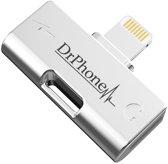 DrPhone NEX - 2 in 1 - FastCharge - Metalen Lightning Splitter Audio Adapter - Stereo Sound - 2 Lightning Poorten iPhone XS / X / Max / XR / 7 / 8 Plus / 5 / SE / iPad Pro / Air / 2018 - Geen verlies aan geluidskwaliteit + Snel Opladen - Luxe Pouch