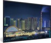 Foto in lijst - Skyline van de Chinese miljoenenstad Shenyang fotolijst zwart 60x40 cm - Poster in lijst (Wanddecoratie woonkamer / slaapkamer)