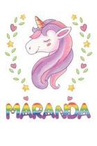 Maranda: Maranda Notebook Journal 6x9 Personalized Gift For Maranda Unicorn Rainbow Colors Lined Paper