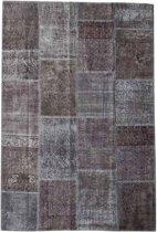 Vintage patchwork vloerkleed antracietgrijs - Afmeting: 242 x 162