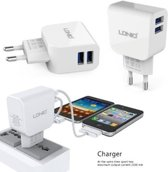 LDNIO AC56 2 poorten Oplader 2.1A met 1 Meter Micro USB Kabel geschikt voor o.a LG K4 K7 K8 K10 K11 2017
