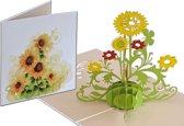 Popcards popupkaarten - Zonnebloemen bloemen met aquarel, verjaardag, pop-up kaart