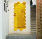 Spiegel Sticker Set - Grote Set - Goudkleurig - Waterproof Badkamer - Wandspiegel - 21 Stuks - Groot - 16 cm x 18 cm