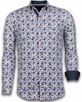 Gentile Bellini Italiaanse Overhemden - Slim Fit Overhemd - Blouse Painted Flower Pattern - Wit - Maten: XXL