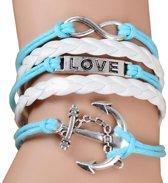 Fako Bijoux® - Multi Armband - Infinity Love Anker - Lichtblauw