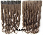 Clip in hair extensions 1 baan wavy bruin / blond - M4/27