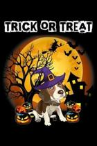 Trick Or Treat: Trick Or Treat Funny Beagle Pumpkin Halloween Costume Journal/Notebook Blank Lined Ruled 6x9 100 Pages