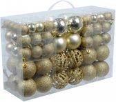 Christmas gifts Kerstballen set - 100 ballen - Plastic / Kunststof - Goud