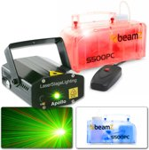 BeamZ Apollo Multipoint rode / groene laser + S500PC transparante 500W rookmachine met LED's en vloeistof