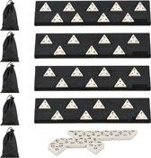 relaxdays 5x triominos spel - domino - driehoek - elk 56 stenen - gezelschapsspel - reis