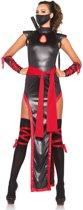 Rood-zwarte ninja kostuum voor vrouwen  - Verkleedkleding - Large