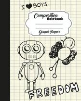 Composition Notebook Graph Ruled Journal Diary Robot Freedom 8 x 10 , 120 Page
