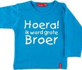 T-shirt lange mouw    Hoera! ik word grote broer  aqua   maat 74/80