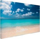 Tropische zee en strand Canvas 80x60 cm - Foto print op Canvas schilderij (Wanddecoratie)