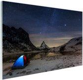 De sterrenhemel boven de Alpen Glas 60x40 cm - Foto print op Glas (Plexiglas wanddecoratie)