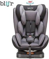 Blij'r Daan - Kinder autostoel - 360 graden draaibaar, Isofix of autogordel  - Alle gewichtsklasse (0 t/m 3) - Grijs/Zwart