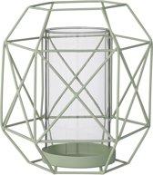 Bloomingville - Windlicht Graphic - Metaal/Glas - Mos Groen - Ø11/16xH18 cm