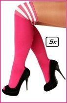 5x paar Lieskousen fluo pink met 3 witte strepen