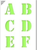 Lettersjabloon - A B C D E F - Kunststof A3 stencil - Kindvriendelijk sjabloon geschikt voor graffiti, airbrush, schilderen, muren, meubilair, taarten en andere doeleinden