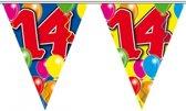 2x Leeftijd versiering vlaggenlijnen / vlaggetjes / slingers 14 jaar geworden thema 10 meter