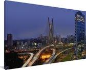 De skyline van São Paulo in het Zuid-Amerikaanse Brazilië Canvas 80x40 cm - Foto print op Canvas schilderij (Wanddecoratie woonkamer / slaapkamer)