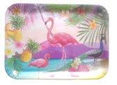Dienblad met flamingo / ananas motief MARTHA - Multicolor - Kunststof - 43.5 x 31.5 cm