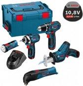 Bosch Professional Accu schroefboormachine 5 Tool Kit 12V GSR + GOP + GDR + GSA + GLI PowerLED (3x 2,0 Ah + lader AL 1130 CV + accessoires)