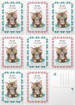 Kaartenset babykaartjes meisje en jongen - 10 stuks - A6 - Ansichtkaarten met beschrijfbare achterkant - Schattige kitten - Blauwe kat met Allstars - Roze kat met schaatsen - Schilderingen in aquarel door Mies to Go