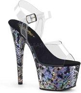 ADORE-708SP (EU 39 = US 9) 7 Heel, 2 3/4 PF Ankle Strap Sandal w/ Snake Skin Print