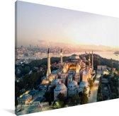 Hagia Sophia bij ochtendschemering in Istanboel Canvas 40x30 cm - klein - Foto print op Canvas schilderij (Wanddecoratie woonkamer / slaapkamer)
