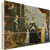 Frederik Hendrik en zijn vrouw Amalia van Solms en hun drie jongste dochters - Schilderij van Gerard van Honthorst Vurenhout met planken 40x30 cm - klein - Foto print op Hout (Wanddecoratie)