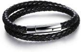 Victorious – Zwartkleurige Gevlochten Leren Armband – Dubbele Armband – Eenvoudige Zilverkleurige Roestvrij Stalen Sluiting Met Indruksysteem – Geschikt voor pols met omtrek van: 18 t/m 20cm