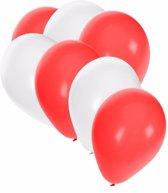 30x Ballonnen wit en rood