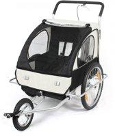 Geveerde fietskar met buggy functie Wit / Zwart
