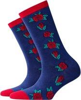 Burlington Roses Sokje Dames 20728 - 36-41 - Blauw