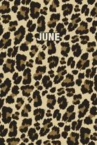 June: Personalized Notebook - Leopard Print (Animal Pattern). Blank College Ruled (Lined) Journal for Notes, Journaling, Dia