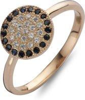 Silventi 943283644 50 Zilveren Ring - met Zirkonia - Rosékleurig en zwart