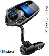 Bluetooth FM Transmitter, Auto Radio Adapter CarKit met 4 Music Play Modes / Hands-free Bellen / TF Kaart / USB Auto Lader / USB Flash Drive / AUX Input / Output 1.44 inch LCD Display/ Bluetooth Carkit 5 in 1 / T10 / Adge