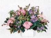 Thea Gouverneur Borduurpakket 1080 Bouquet Pioenen - Linnen stof