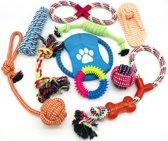 Honden Speelgoed - Dierenspeelgoed - Flostouw - Bijtring - 10 stuks