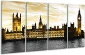 Glasschilderij Londen | Geel, Zwart, Wit | 160x80cm 4Luik | Foto print op Glas |  F003097