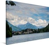 Meer van Bled met bergen in Slovenië Canvas 180x120 cm - Foto print op Canvas schilderij (Wanddecoratie woonkamer / slaapkamer) XXL / Groot formaat!