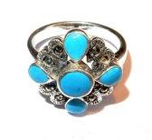 Zilveren Ring met blauw emaille