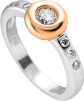 Diamonfire - Zilveren ring met steen Maat 18.0 - Rosegoudvergulde Kastzetting - Donut